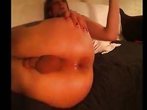 Crazy Tranny Massive dildo insertions