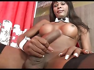 Black Shemale Wanking her Big Cock