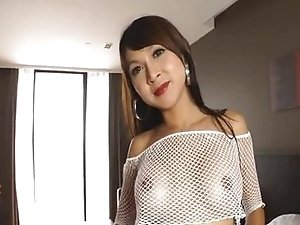 Two Asian Tgirls are having dildo fun