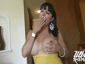 Samantha strokes her Mexican cock