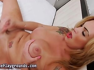 Shemale tugs and cums on big tits