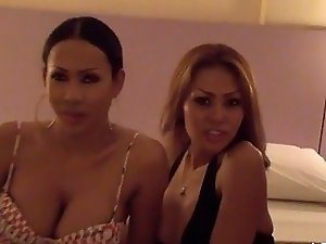 Two Asian Shemales in Thailand Tease Camera